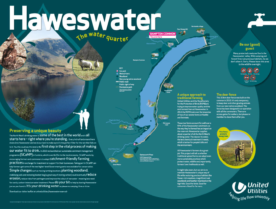 Graphics and photographic on information panels for Haweswater area.
