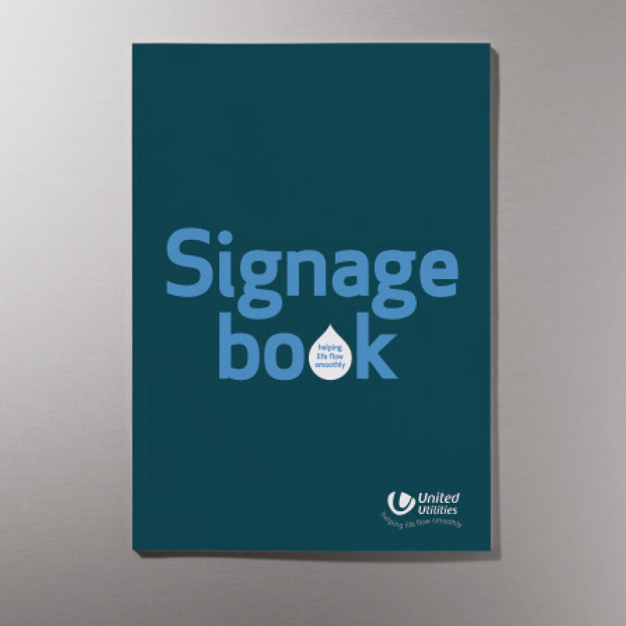 Front cover of signage guidelines with water droplet used as a graphic device in the headline.