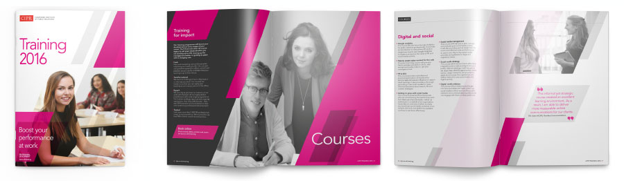 Section page spread in brochure for Courses.