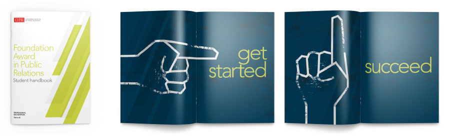 Bold, graphic finger illustration pointing at the words 'get started'.