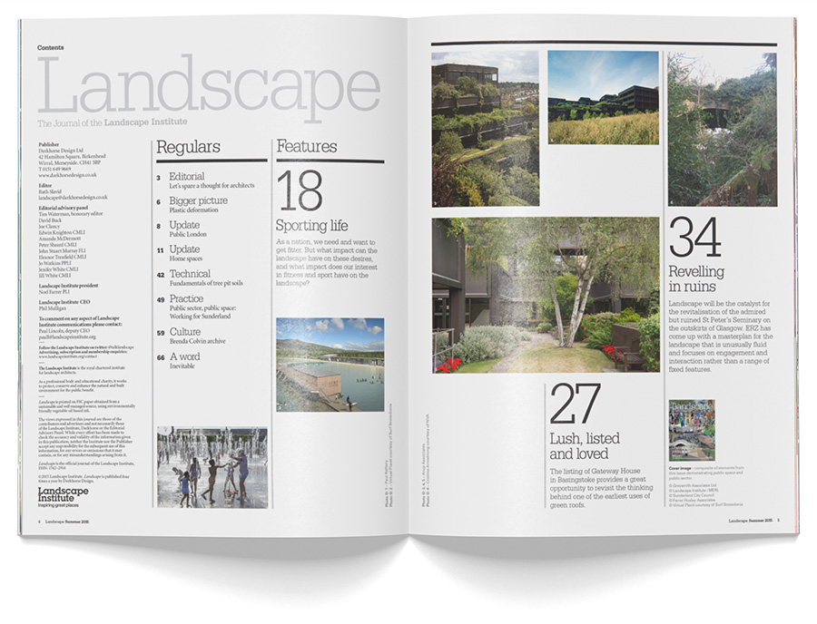 Contents spread of Landscape Journal, showing images and subject navigation.