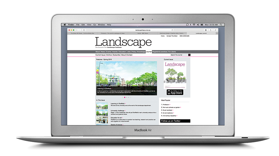 Example pages of the Landscape Journal website on a laptop screen.