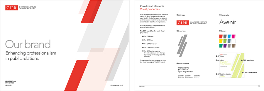 Page from the CIPR guidelines showing the brand elements that include: colour, typeface and brand icon.