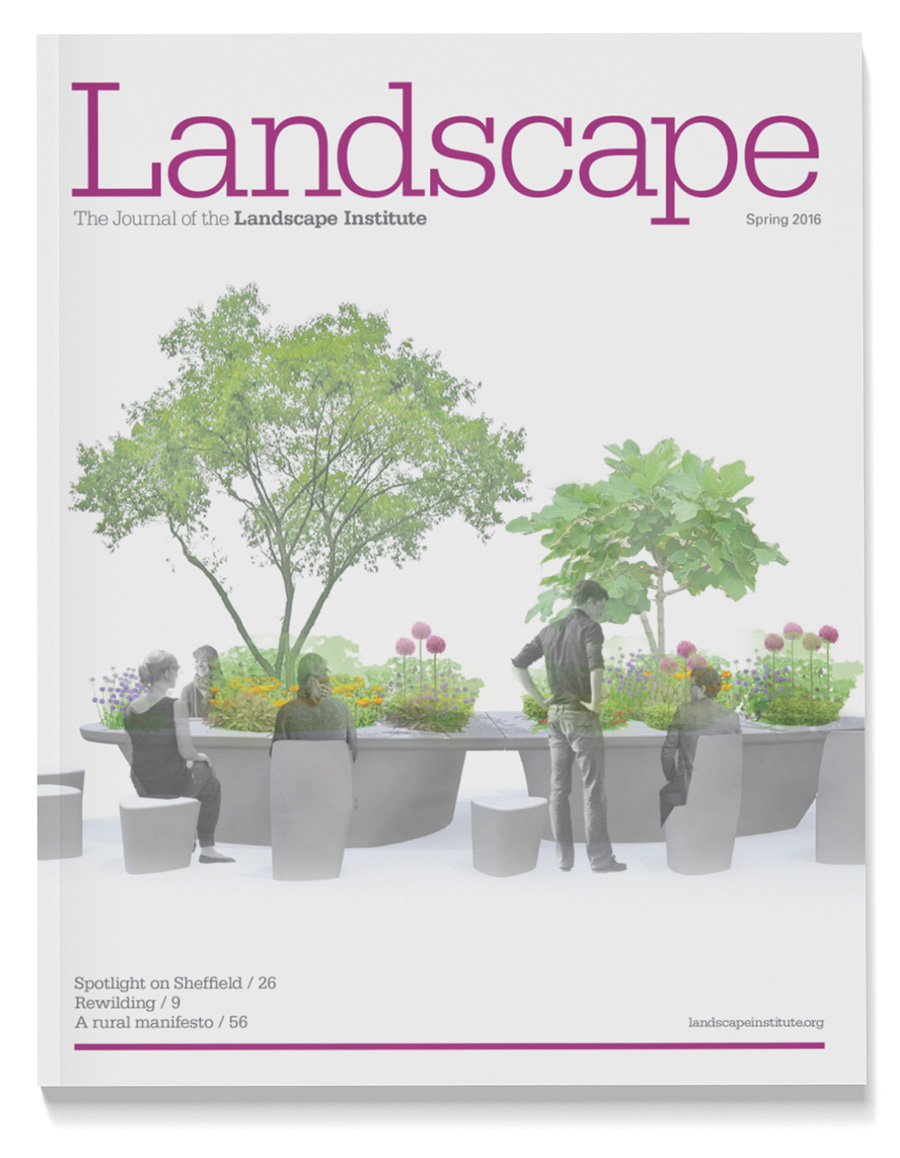 Front cover of Landscape Journal showing street furniture examples.