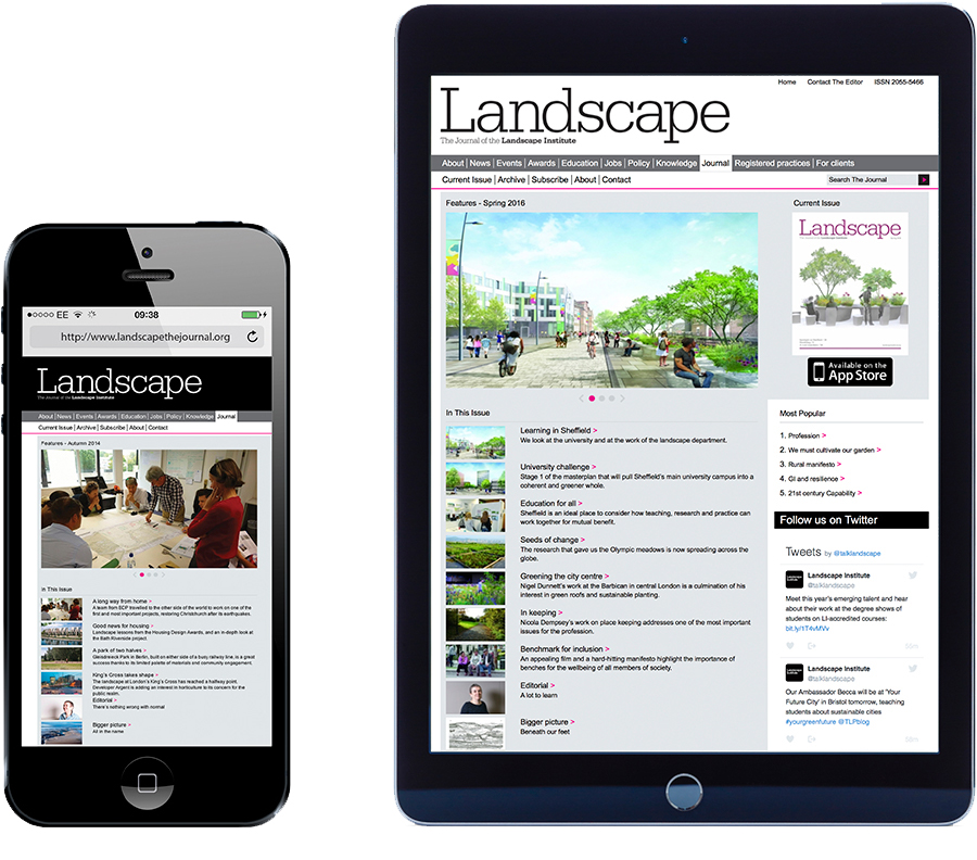 Example pages of the Landscape Journal website on iPad and iPhone.